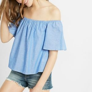 EXPRESS Blue & White Off-The-Shoulder Top